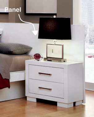 Jessica Nightstand Panels White (Set of 2)