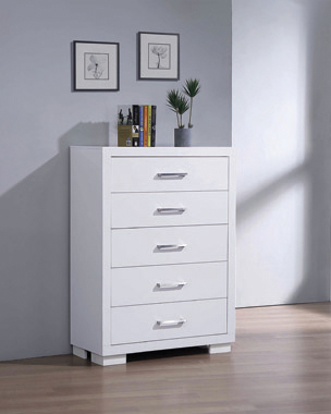 Jessica 5-drawer Chest White - Hover