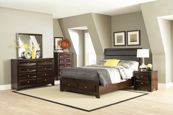Jaxson Eastern King Storage Bed with Upholstered Headboard Cappuccino - Hover