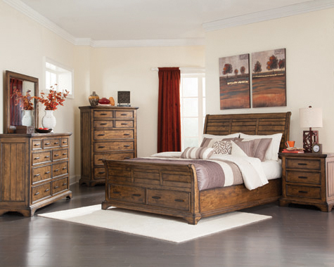 Elk Grove Eastern King Storage Bed Vintage Bourbon - Hover