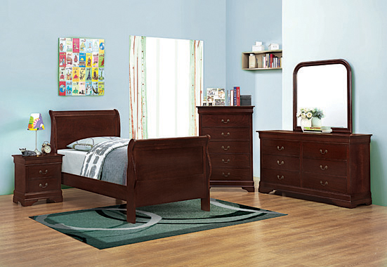 Santee Louis Philippe Twin Sleigh Panel Bed Red Brown - Hover