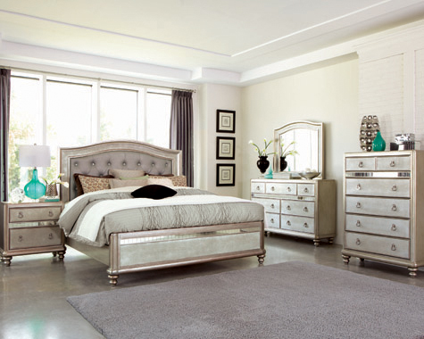 Bling Game Eastern King Panel Bed Metallic Platinum - Hover