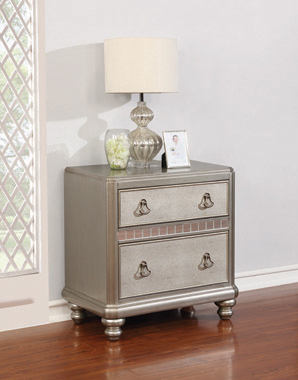 Bling Game 2-drawer Nightstand Metallic Platinum - Hover