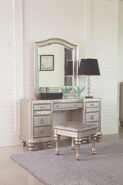 9-drawer Vanity Desk Metallic Platinum - Hover