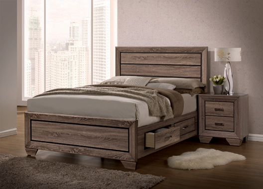 Kauffman California King Storage Bed Washed Taupe - Hover