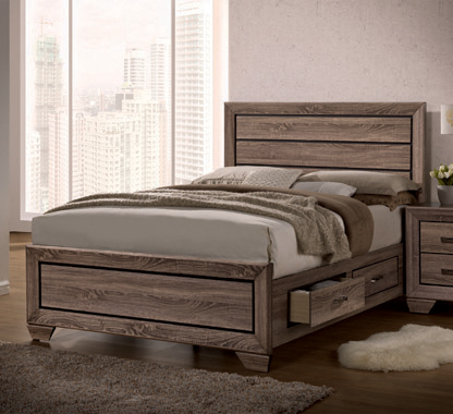 Kauffman Queen Storage Bed Washed Taupe