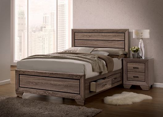 Kauffman Queen Storage Bed Washed Taupe - Hover