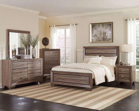 Kauffman California King Panel Bed Washed Taupe - Hover