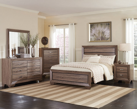 Kauffman Queen Panel Bed Washed Taupe - Hover