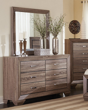Kauffman Rectangular Mirror Washed Taupe - Hover