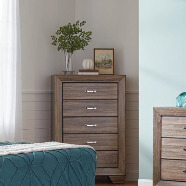 Kauffman 5-drawer Chest Washed Taupe
