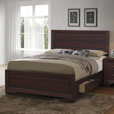 Kauffman Eastern King Storage Bed Dark Cocoa