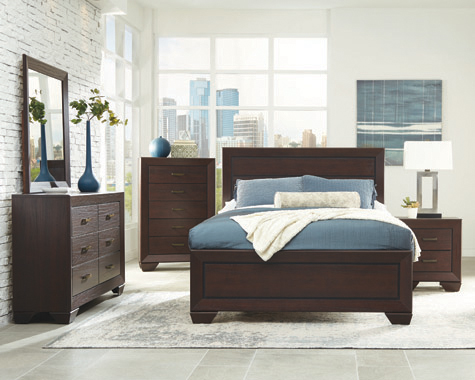 Kauffman Eastern King Panel Bed Dark Cocoa - Hover