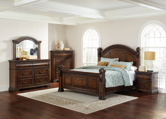 Satterfield Queen Panel Bed Warm Bourbon - Hover