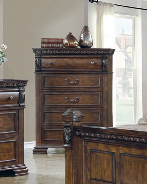 Satterfield 5-drawer Chest Warm Bourbon - Hover