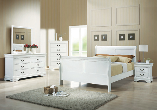 Louis Philippe Queen Sleigh Panel Bed White - Hover