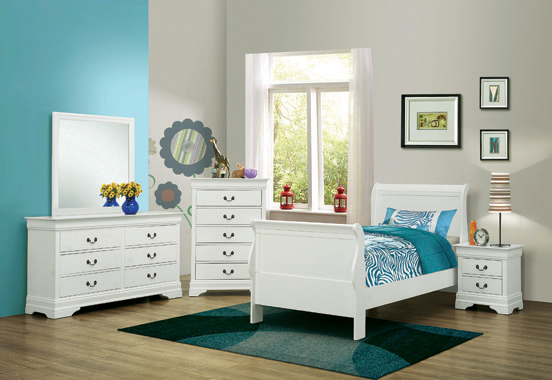 Louis Philippe Twin Sleigh Panel Bed White - Hover