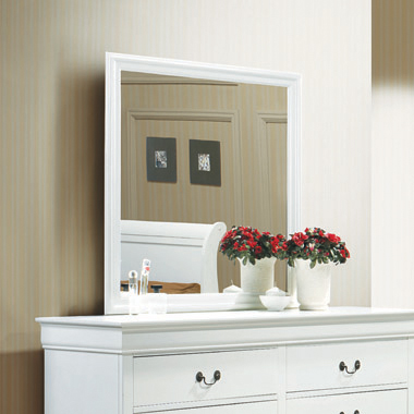 Louis Philippe Beveled Edge Square Mirror White - Hover