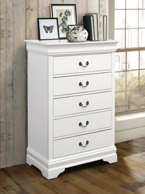 Louis Philippe 5-drawer Chest White - Hover
