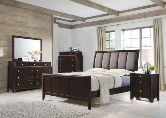 Madison Eastern King Bed with Upholstered Headboard Taupe Grey and Dark Merlot - Hover