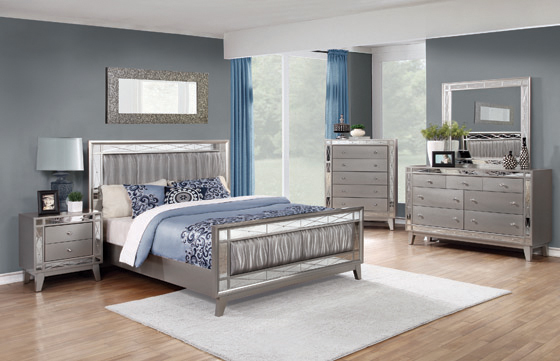 Leighton Eastern King Panel Bed with Mirrored Accents  Mercury Metallic - Hover