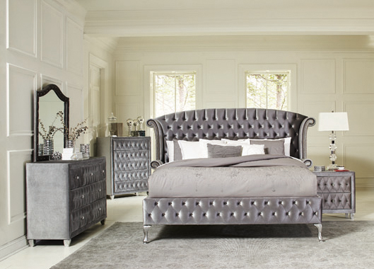 Deanna  Tufted  Bedroom Set Grey
