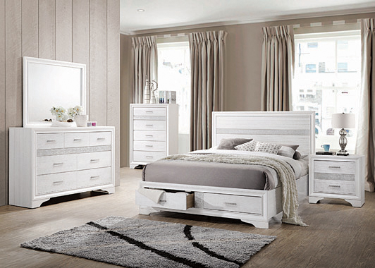 Miranda California King 2-drawer Storage Bed White - Hover