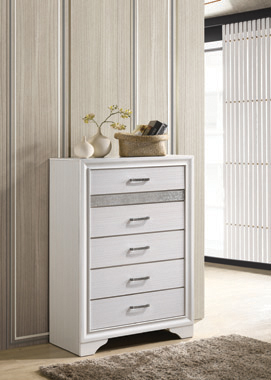 Miranda 5-drawer Chest White and Rhinestone - Hover