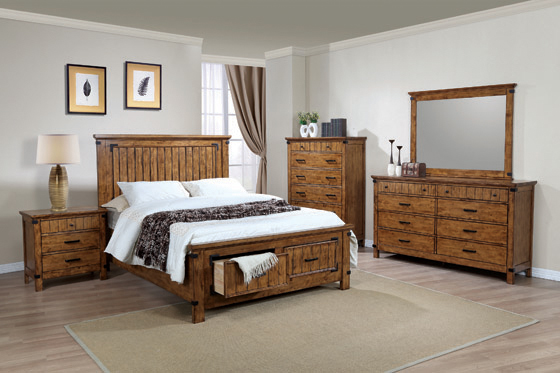 Brenner California King Storage Bed Rustic Honey - Hover