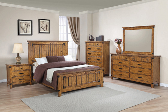Brenner Queen Panel Bed Rustic Honey - Hover