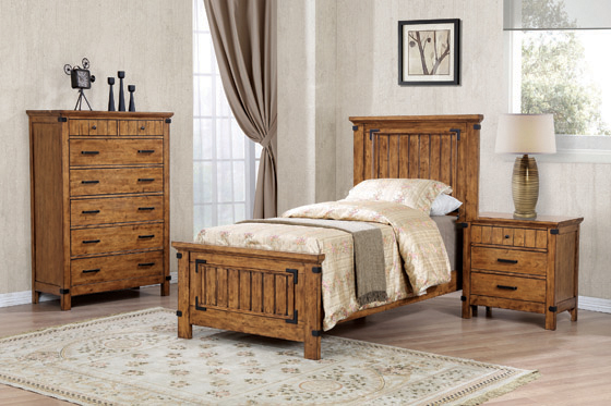 Brenner Twin Panel Bed Rustic Honey - Hover