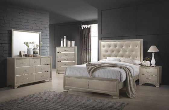 Beaumont Upholstered Queen Bed Champagne - Hover