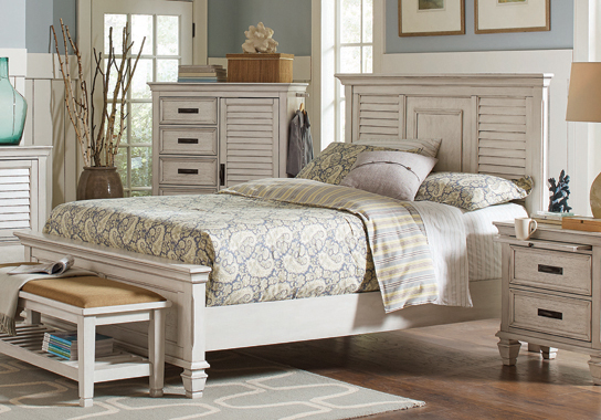 Franco Eastern King Panel Bed Antique White