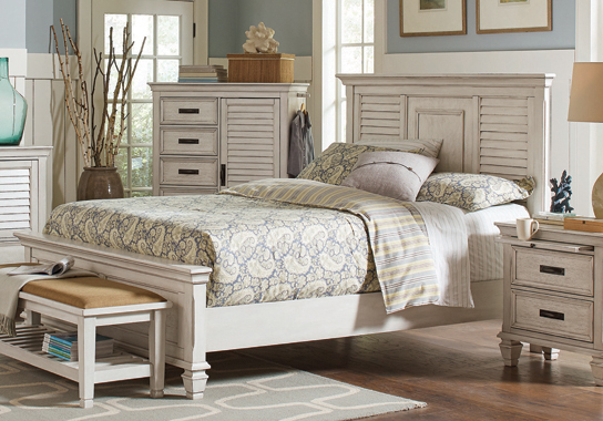 Franco Queen Panel Bed Antique White