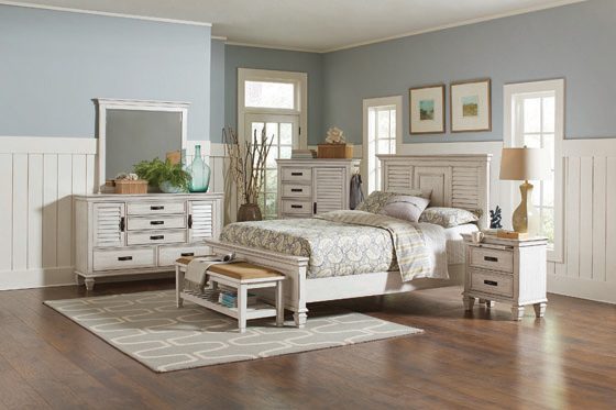 Franco Queen Panel Bed Antique White - Hover