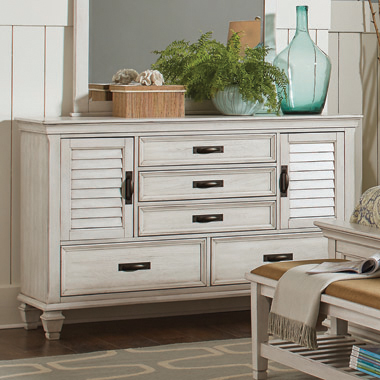 Franco 5-drawer Dresser Antique White - Hover