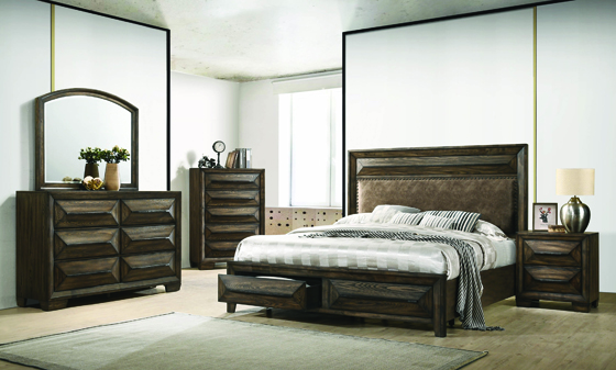 Preston Eastern King 2-drawer Storage Bed Rustic Chestnut - Hover