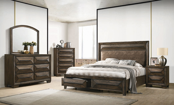 Preston California King 2-drawer Storage Bed Rustic Chestnut - Hover
