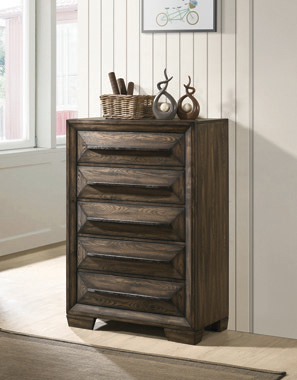 Preston 5-drawer Chest Rustic Chestnut - Hover