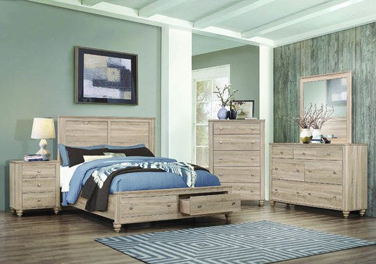 Wenham Eastern King Storage Bed Natural Oak - Hover