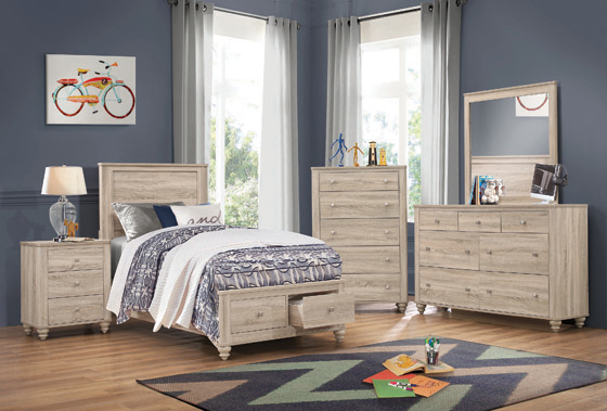Wenham Twin Storage Bed Natural Oak - Hover