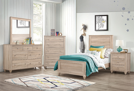 Wenham Twin Panel Bed Natural Oak - Hover