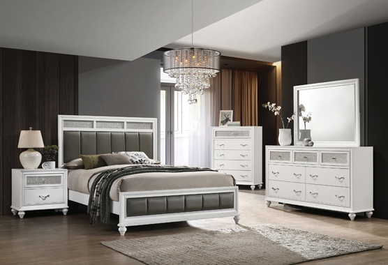 Barzini 4-piece California King Panel Bedroom Set White