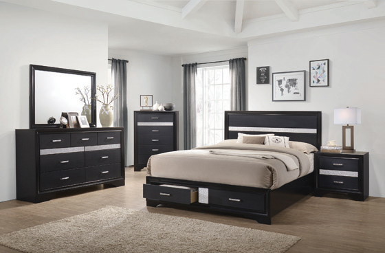 Miranda Eastern King 2-drawer Storage Bed Black - Hover