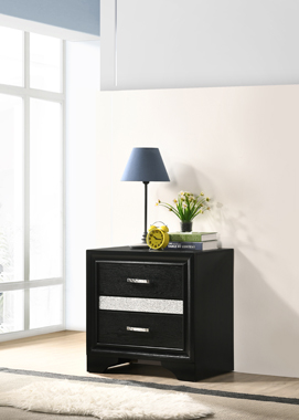 Miranda 2-drawer Nightstand Tray Black - Hover