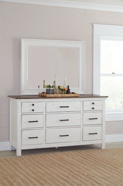Celeste 9-drawer Dresser Rustic Latte and Vintage White - Hover