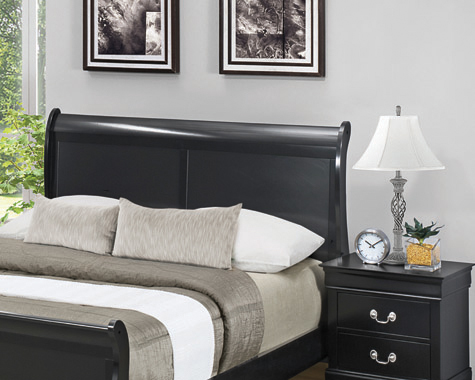 Louis Philippe Full Sleigh Headboard Black