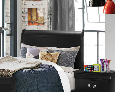Louis Philippe Twin Sleigh Headboard Black
