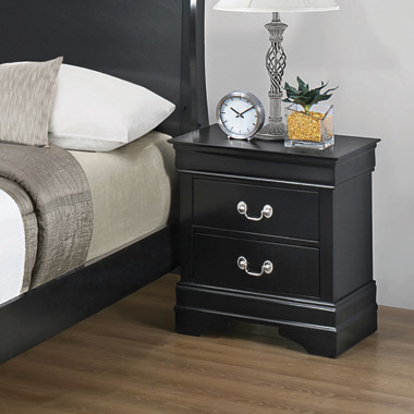 Louis Philippe 2-drawer Nightstand Black - Hover