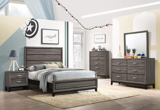 5-piece Full Panel Bedroom Set Grey Oak